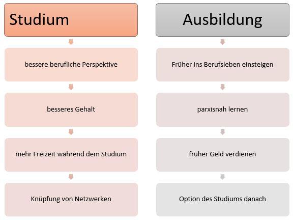 Vergleichsdiagramm Studium - Ausbildung