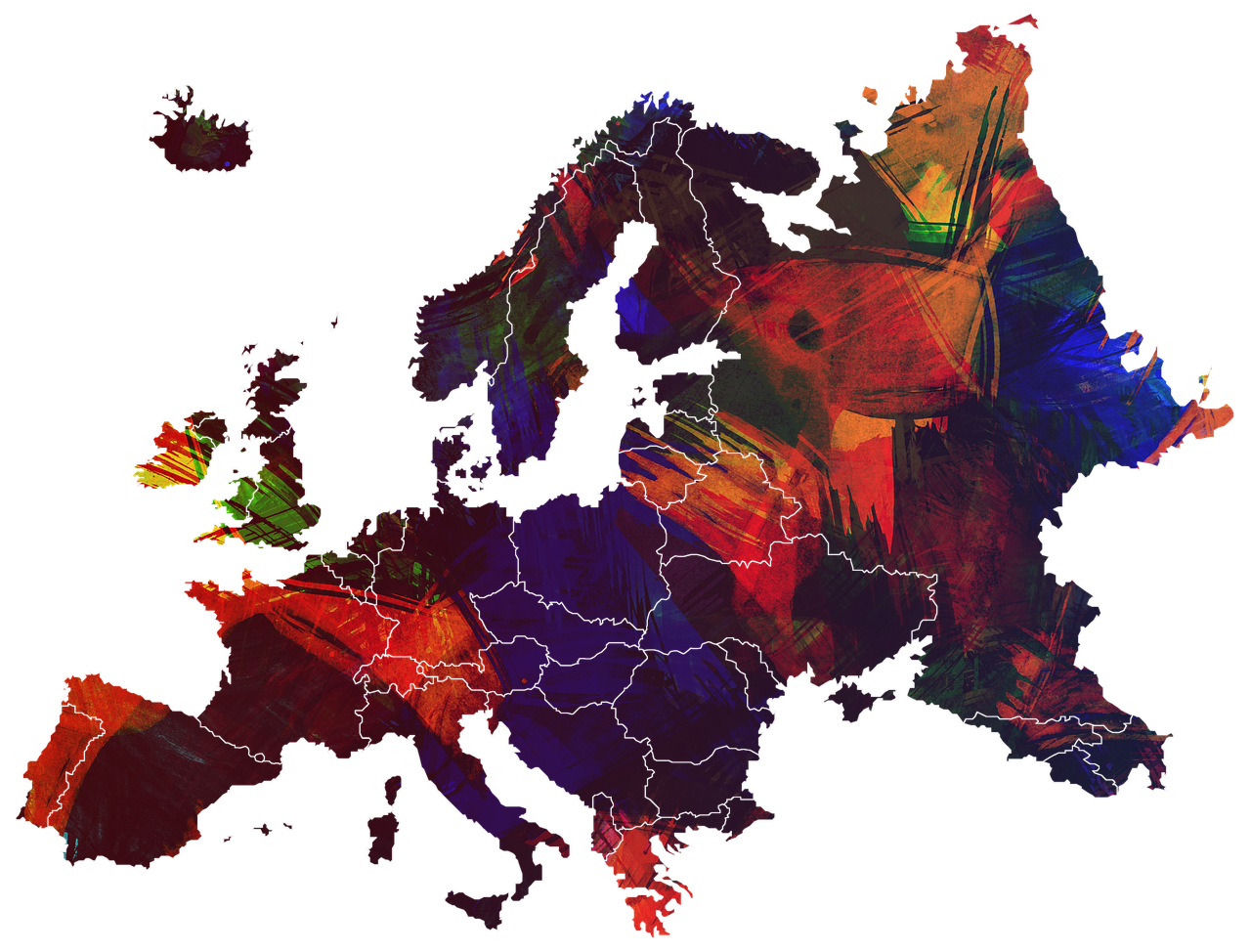 Landkarte mit Österreich und der Schweiz